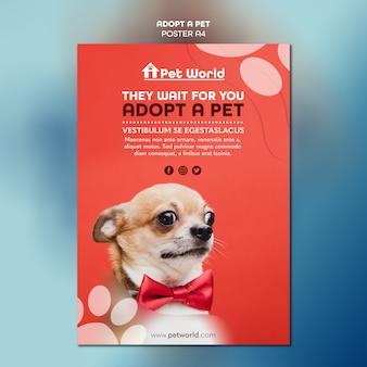 Modèle de flyer pour adoption d'animaux avec chien