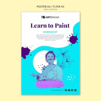 Modèle de flyer pour apprendre à peindre