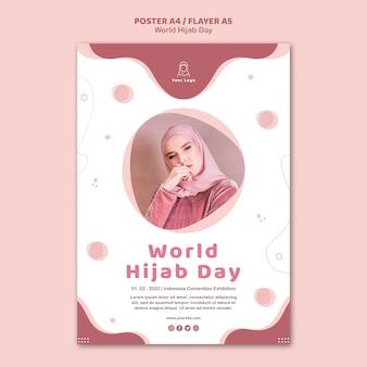Modèle de flyer pour la célébration de la journée mondiale du hijab