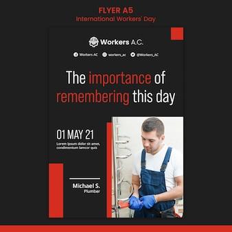Modèle de flyer pour la célébration de la journée des travailleurs internationaux