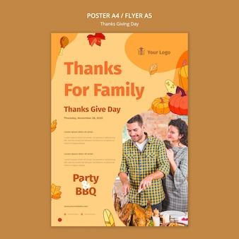 Modèle de flyer pour la célébration de thanksgiving