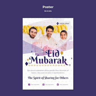 Modèle de flyer pour eid mubarak