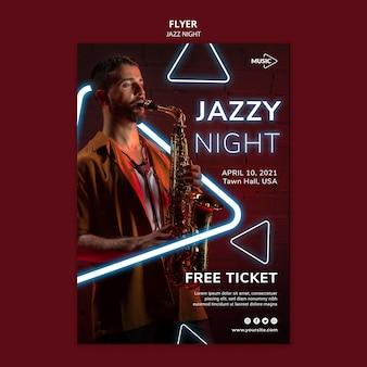Modèle de flyer pour l'événement de nuit de jazz au néon