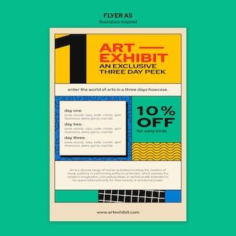 Modèle de flyer pour exposition d'art