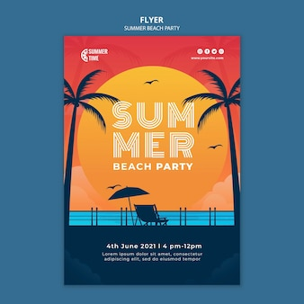Modèle de flyer pour fête d'été sur la plage