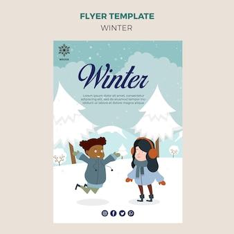 Modèle de flyer pour l'hiver avec des enfants