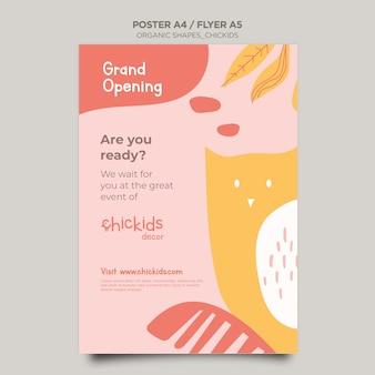 Modèle de flyer pour magasin de décoration intérieure pour enfants