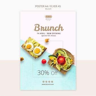 Modèle de flyer pour le menu du brunch