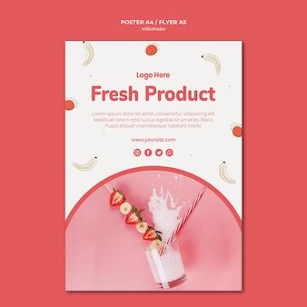Modèle de flyer pour milkshake à la fraise