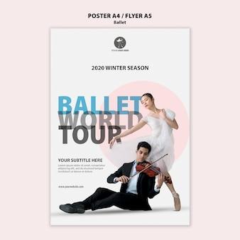 Modèle de flyer pour la performance du ballet