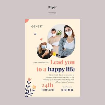 Modèle de flyer pour les soins de santé avec des personnes portant un masque médical