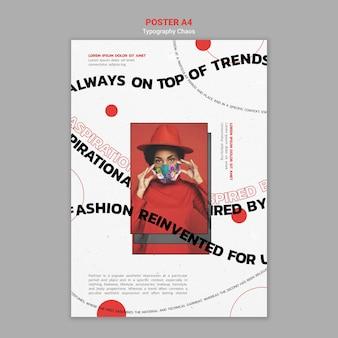 Modèle de flyer pour les tendances de la mode avec une femme portant un masque facial