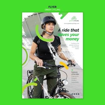 Modèle de flyer pour le vélo vert