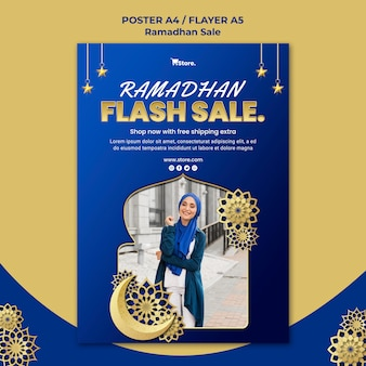 Modèle de flyer pour la vente du ramadan