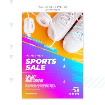 Modèle de flyer pour la vente de sports en ligne