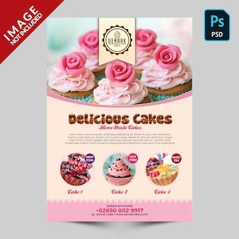 Modèle de flyer de promotion de gâteau
