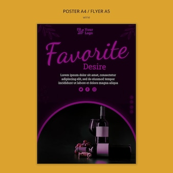 Modèle de flyer promotionnel de vin avec photo