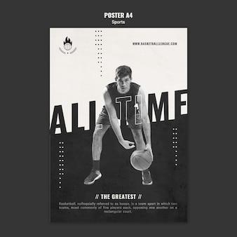 Modèle de flyer publicitaire de basket-ball