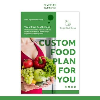 Modèle de flyer publicitaire nutritionniste avec photo