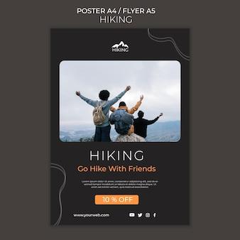 Modèle de flyer publicitaire de randonnée