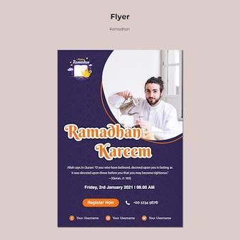 Modèle de flyer ramadan avec photo