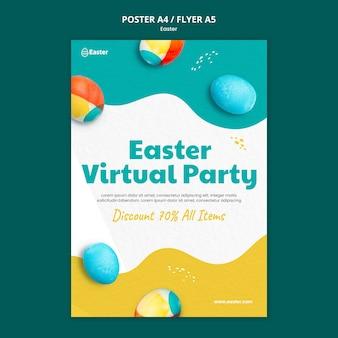Modèle de flyer réaliste joyeux jour de pâques