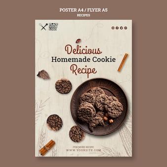 Modèle de flyer de recette de délicieux biscuits maison