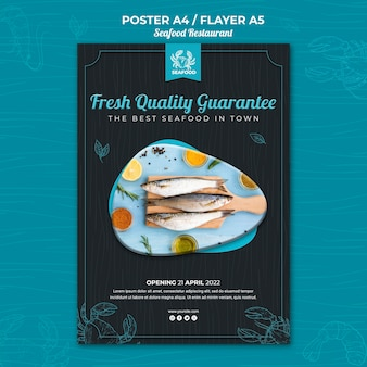 Modèle de flyer de restaurant de fruits de mer