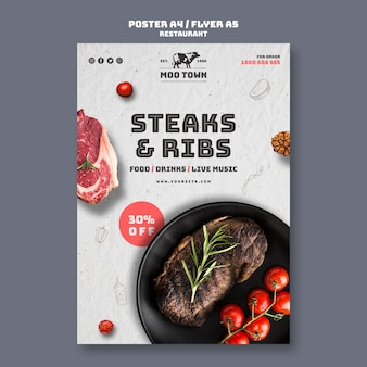 Modèle de flyer de restaurant de steak