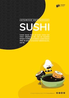 Modèle de flyer restaurant sushi asiatique
