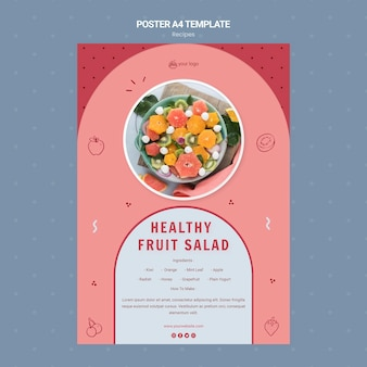 Modèle de flyer de salade de fruits sains