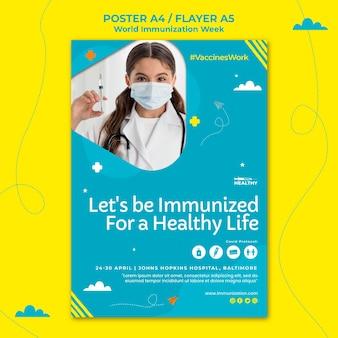 Modèle de flyer de la semaine mondiale de la vaccination