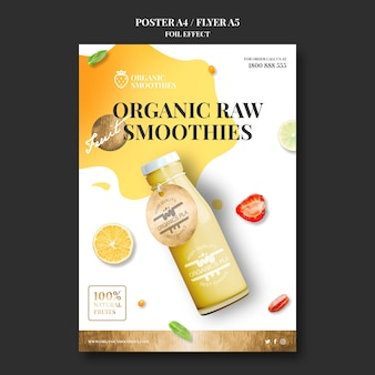 Modèle de flyer de smoothies bio
