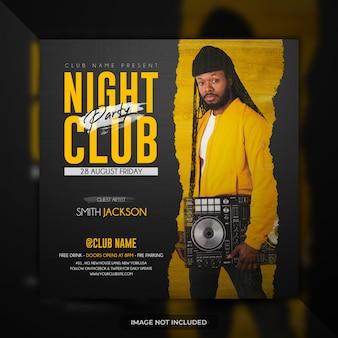 Modèle de flyer de soirée club de nuit bannière ou affiche de médias sociaux