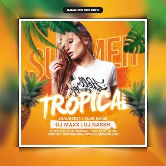 Modèle de flyer de soirée dj tropical d'été