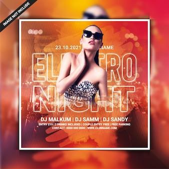 Modèle de flyer de soirée electro night club