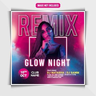 Modèle de flyer de soirée remix glow night