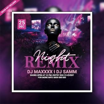 Modèle de flyer de soirée remix night club ou publication sur les réseaux sociaux