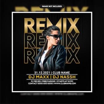 Modèle de flyer de soirée remix night club