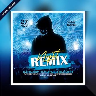 Modèle de flyer de soirée remix night