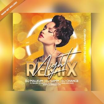 Modèle de flyer de soirée de remix