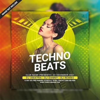 Modèle de flyer de soirée techno beats dj