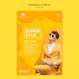 Modèle de flyer de super vente de jour jaune