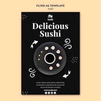 Modèle de flyer de sushi avec photo