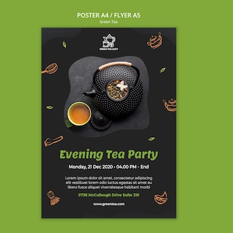 Modèle de flyer de thé vert
