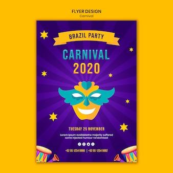 Modèle de flyer avec thème carnaval