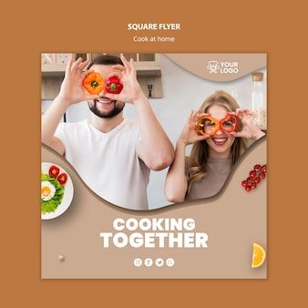 Modèle de flyer avec thème de cuisine