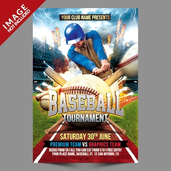 Modèle de flyer de tournoi de baseball