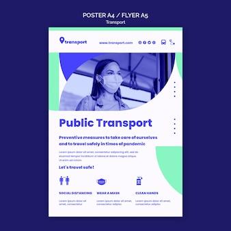 Modèle de flyer de transport public