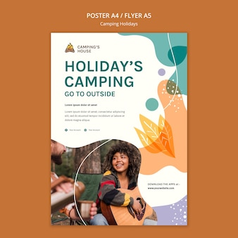 Modèle de flyer de vacances en camping